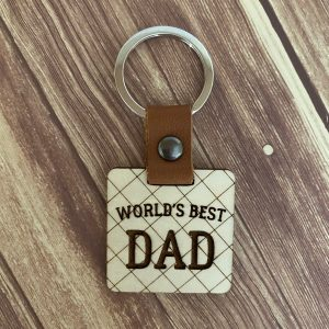 world's best dad engraved wood keychain