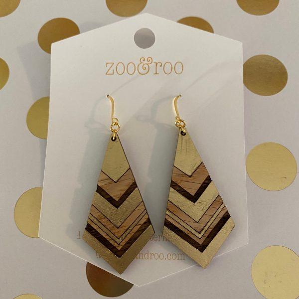 diamond gold leaf wood earrings red oak