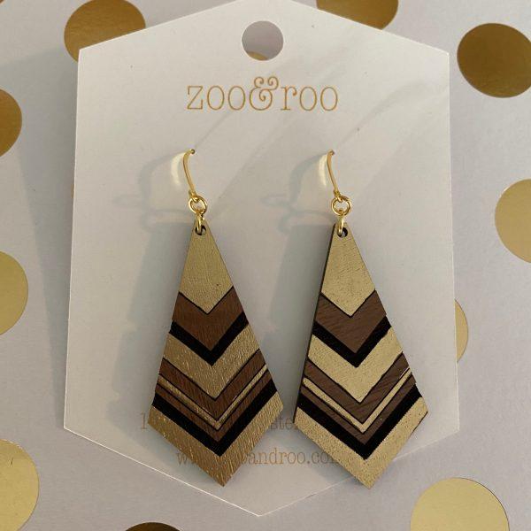 diamond gold leaf wood earrings walnut