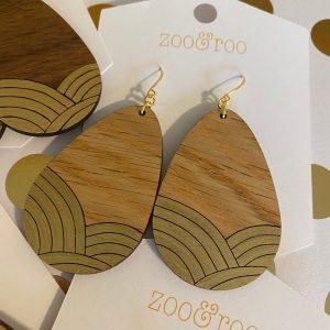golden sunrise wood teardrop gold leaf earrings