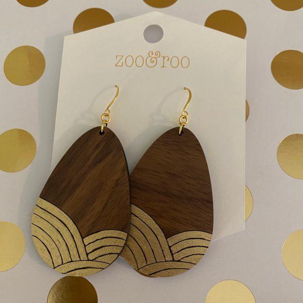 golden sunrise wood teardrop gold leaf earrings walnut