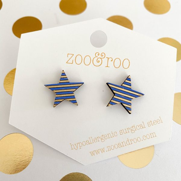 royal blue and gold wood star earrings