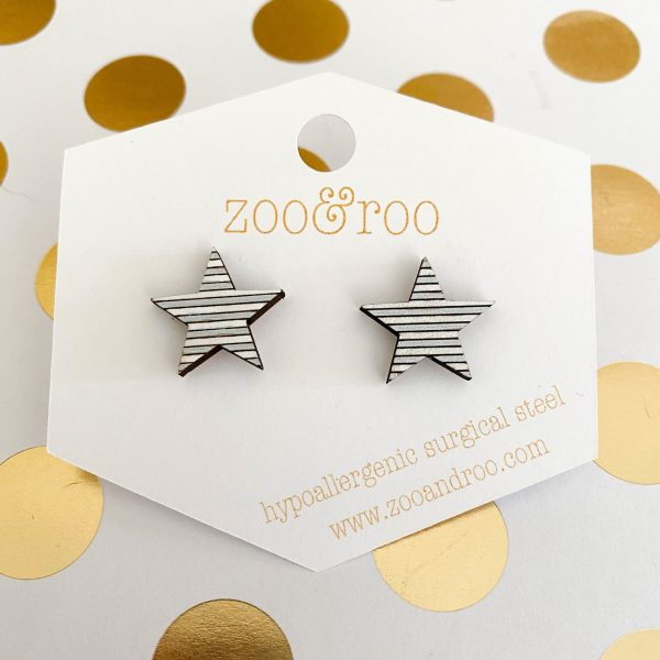 silver and white wood star earrings