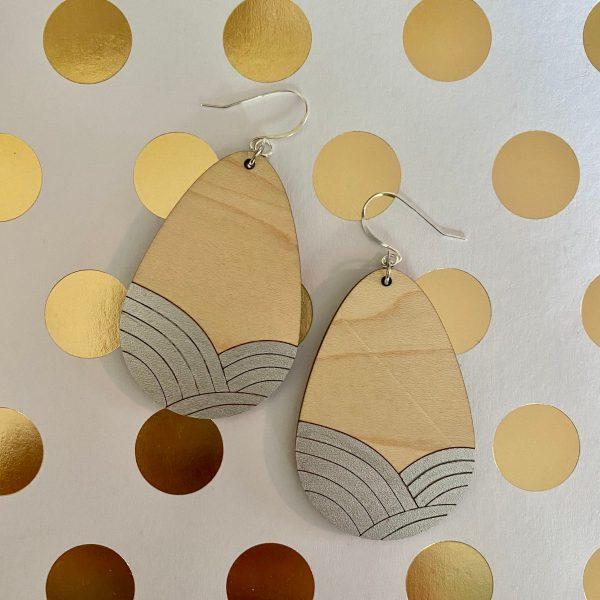 maple with silver wood teardrop earrings
