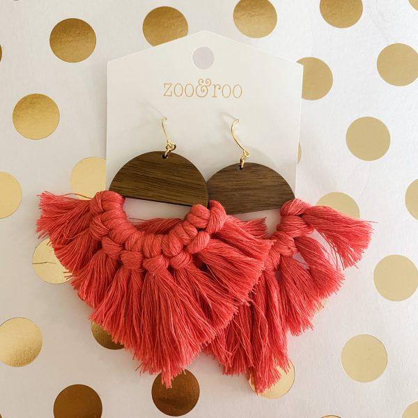 Marrakesh wood tassel earrings honeysuckle
