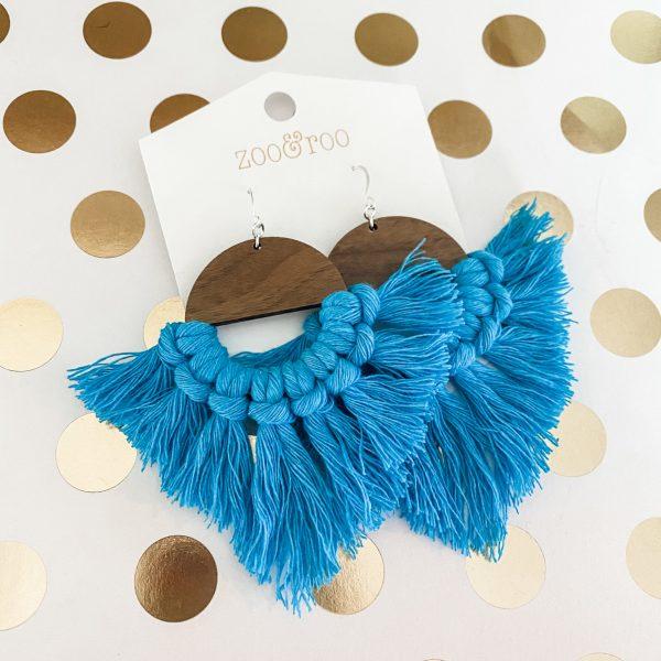 Marrakesh wood tassel earrings Malibu blue