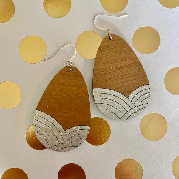 walnut with silver wood teardrop earrings