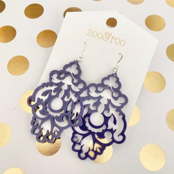 Chandelier earrings purple