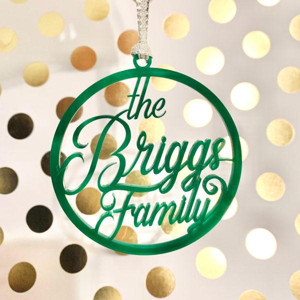 custom name ornament green acrylic