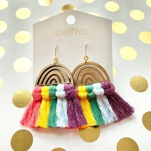 over the rainbow tassel earrings