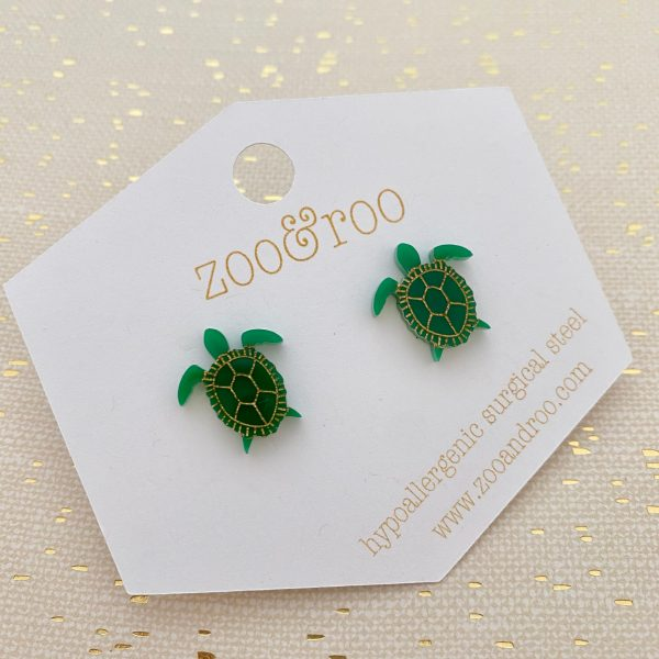 sea turtle stud earrings green