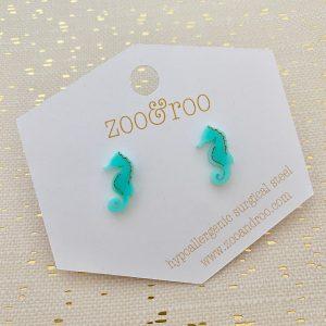 sea horse stud earrings aqua