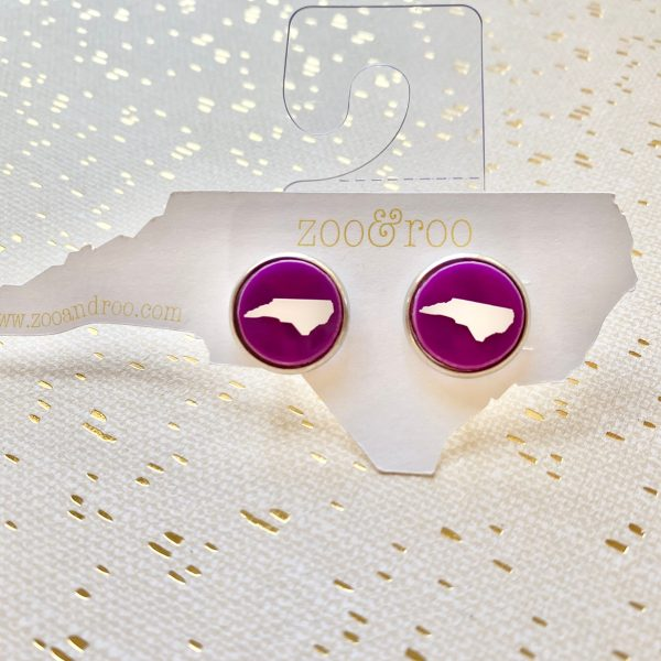 violet with white NC acrylic earrings