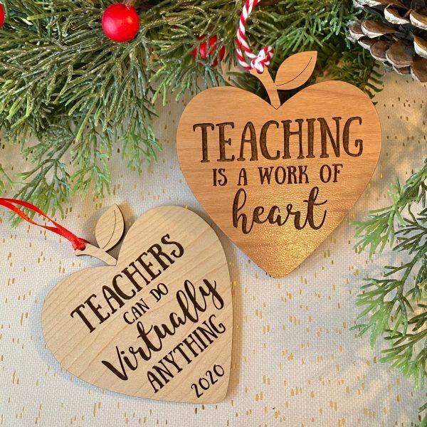 teacher heart apple ornaments