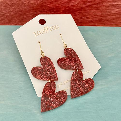 double the love ruby slippers red glitter heart earrings