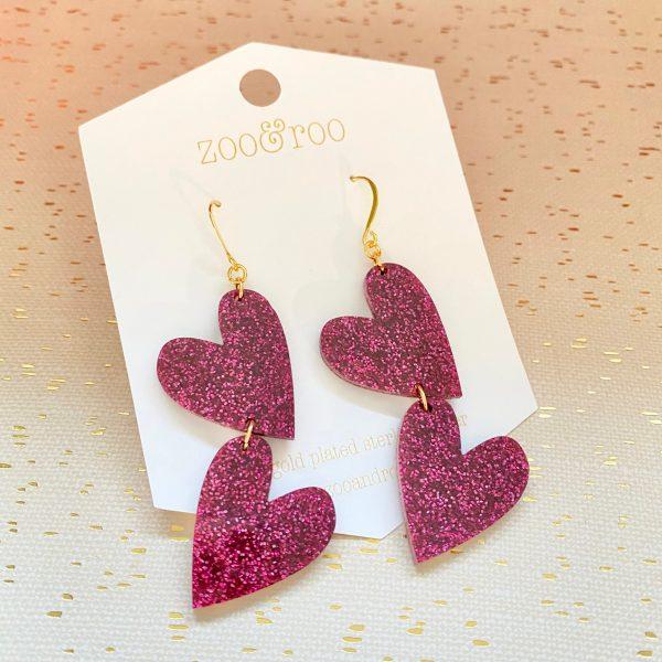 double the love dragonfruit purple glitter heart earrings
