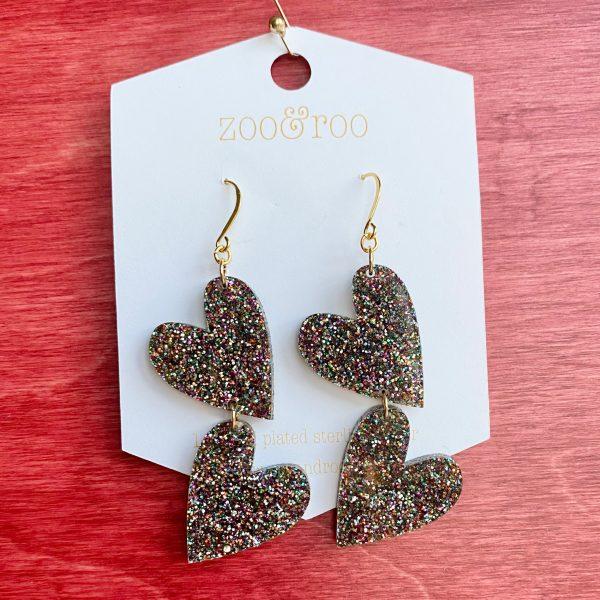 double the love confetti bomb glitter heart earrings