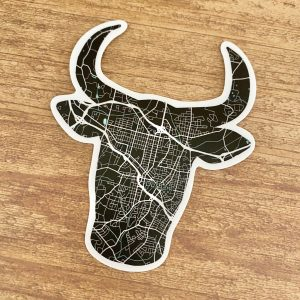 durham nc bull map sticker