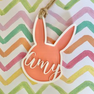 personalized acrylic easter bunny tag