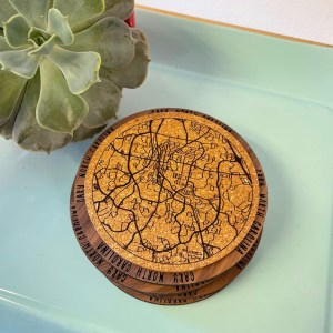Cary NC map coasters cork and wood