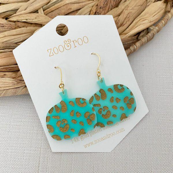 Leopard pumpkin earrings