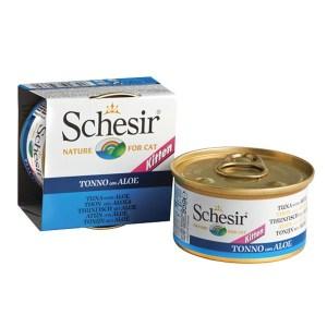 Schesir Tuna Aloe Kitten Натуральные консервы для котят, тунец с алоэ в желе, 85 г
