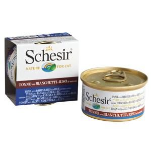 Schesir Tuna Whitebait Rice Натуральные консервы для кошек, тунец с мальками и рисом в собственному соку, 85 г