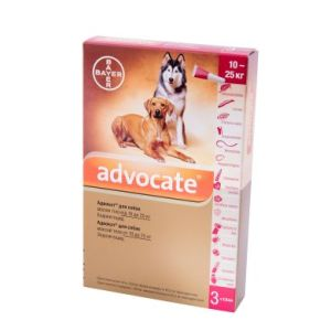 Адвокат (Advocate Bayer) для собак весом 10-25 кг, 3 пипетки