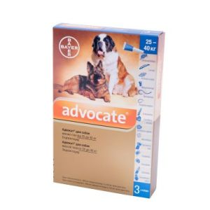 Адвокат (Advocate Bayer) для собак весом 25-40 кг, 3 пипетки