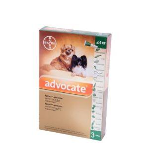 Адвокат (Advocate Bayer) для собак весом до 4 кг, 3 пипетки