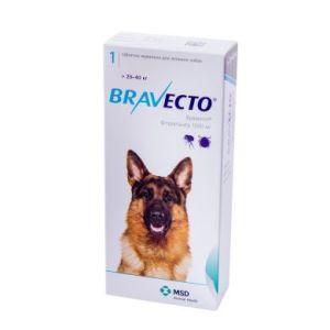 Бравекто (Bravecto) таблетки от блох и клещей для собак весом от 20 до 40 кг, 1000 мг