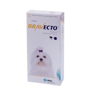 Бравекто (Bravecto) таблетки от блох и клещей для собак весом от 2 до 4,5 кг, 112,5 мг