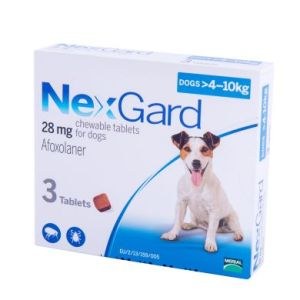 Нексгард (NexGard) таблетки от блох и клещей для собак весом 4-10 кг, 3 таб