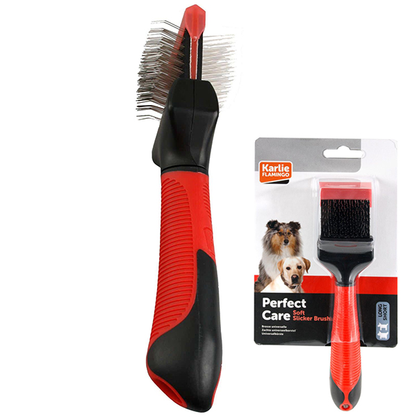 Karlie-Flamingo Soft Slicker Brush 2in1 КАРЛИ-ФЛАМИНГО пуходерка сликер для собак малых и средних пород