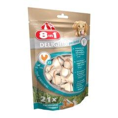 Лакомство для собак 8in1 Delights Кость для чистки зубов Pro Dental 7 см, 252 г / 21 шт. (курица)