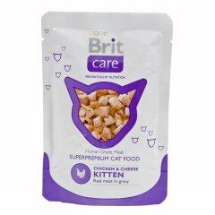 Влажный корм для котят Brit Care Cat Chicken & Cheese Kitten pouch 80 г (курица и сыр)