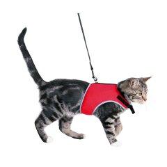 Шлейка с поводком для кошек Trixie нейлон «Soft» (красная)
