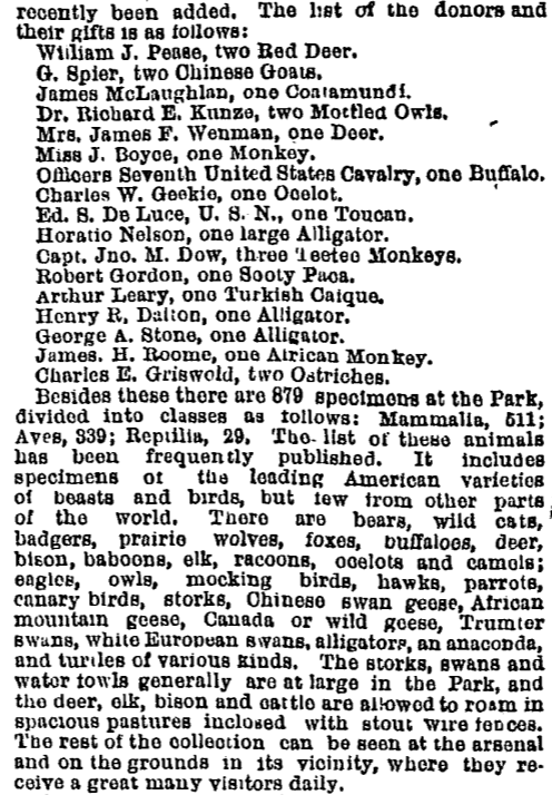Description of the Central Park menagerie, New York Times (July 18, 1868).