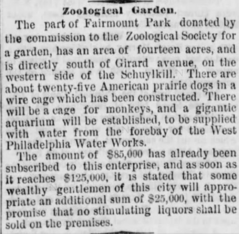 "Article in the Philadelphia Inquirer (July 19, 1873). Regarding the last sentence, Quaker Alfred Cope made it a condition that he would only donate the money if ""all malt, vinous or spirituous liquors … be forever excluded from the premises."""