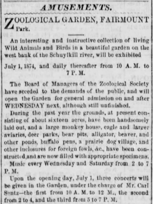 Announcement in the Philadelphia Inquirer (June 29, 1874), a few days before opening day.