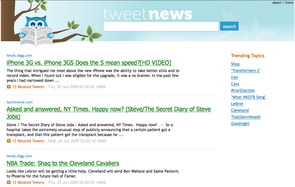 TweetNews Homepage