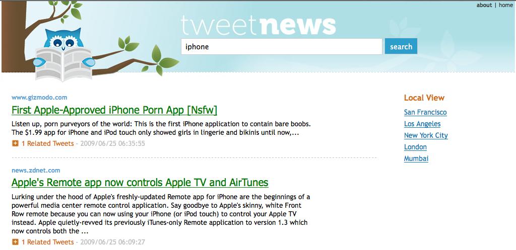 TweetNews IPhone (Los Angeles Ranking)