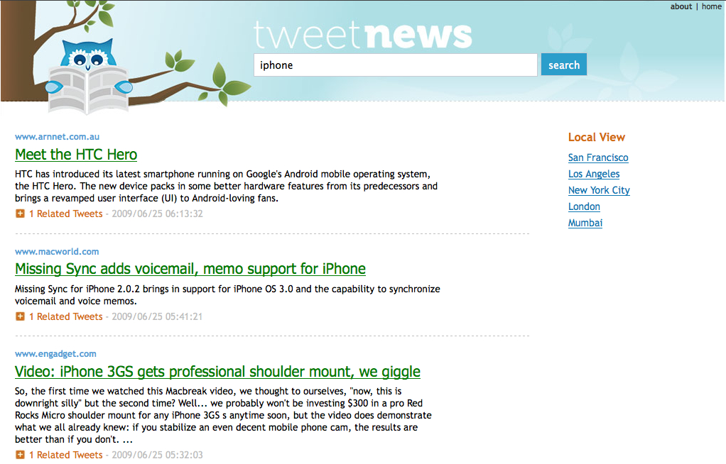 TweetNews IPhone (London Ranking)