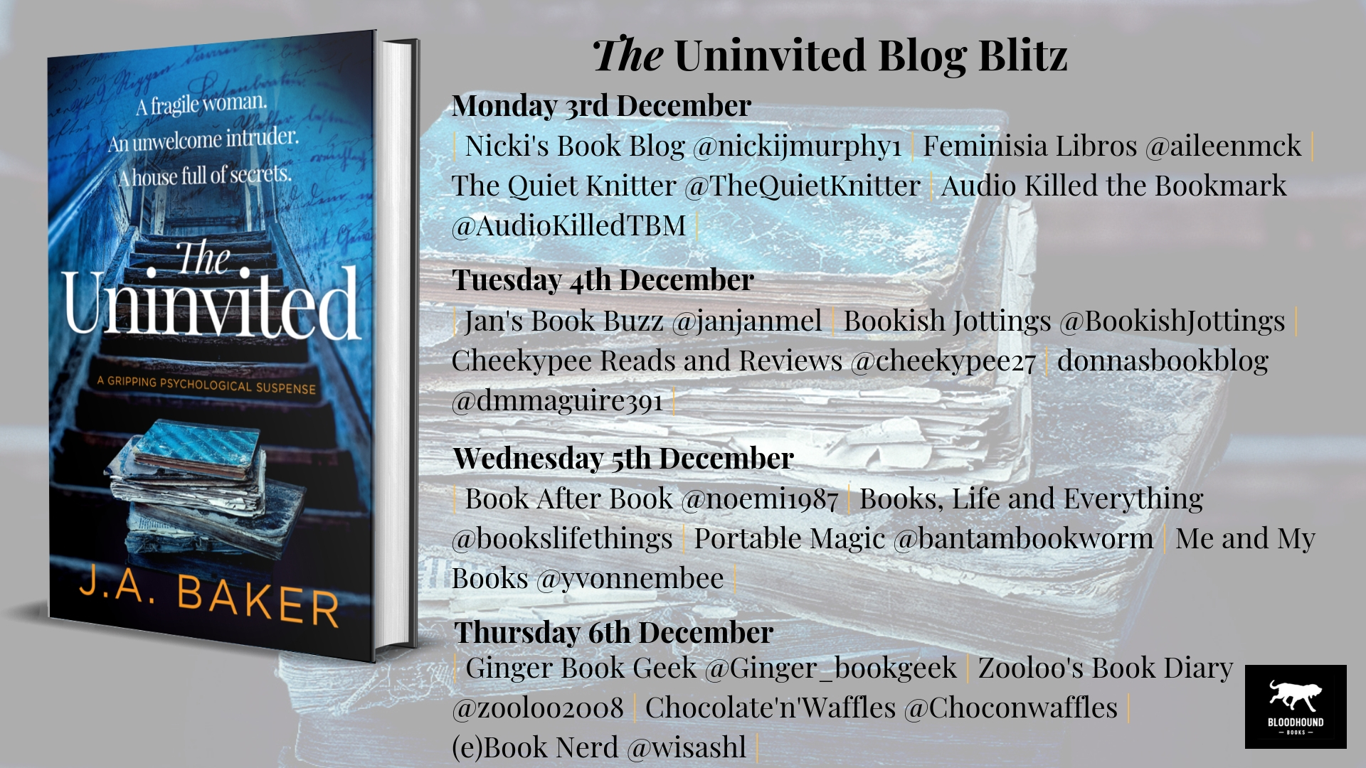#GuestPost by J.A Baker, author of The Uninvited  @thewriterjude @bloodhoundbook @damppebbles