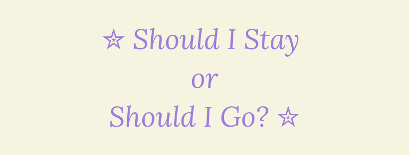 Should I Stay or Should I Go? 16th March 2019 #Goodreadsclearout
