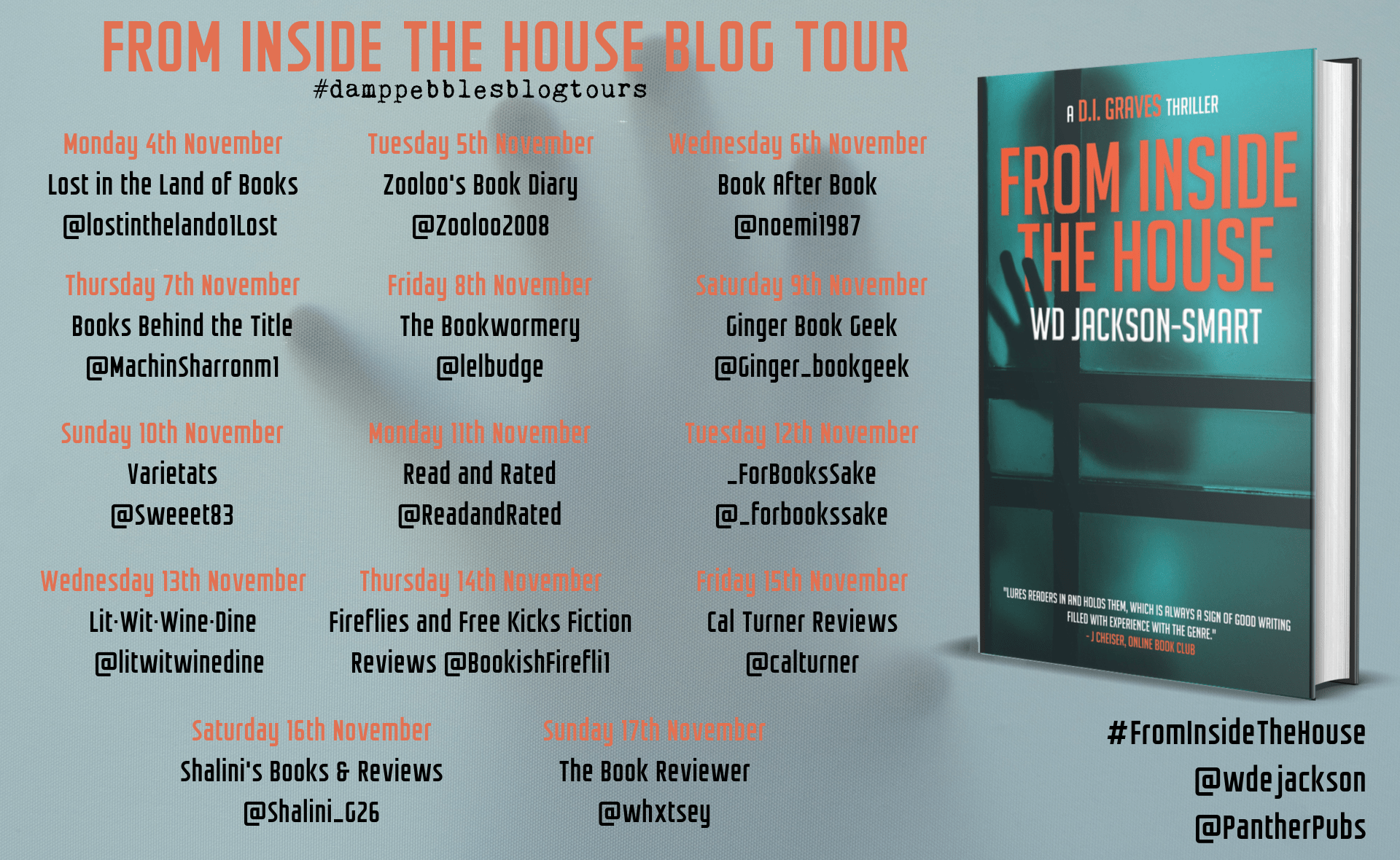 #BookReview of From Inside The House by W.D. Jackson-Smart @Wdejackson @PantherPubs #FITH #DIGraves @damppebbles @DamppebblesBTs #damppebblesblogtours #FromInsideTheHouse