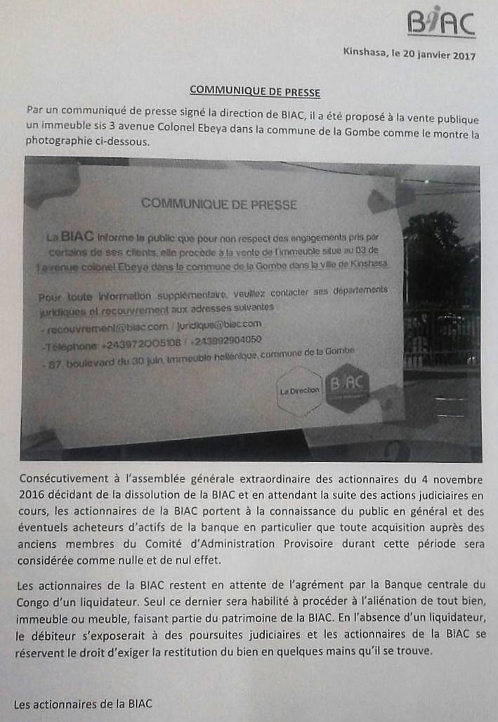 BIAC_Communiqué & Contre Communiqué
