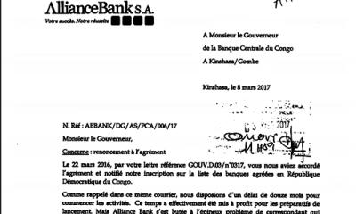 RDC : Alliance Bank renonce à son agrément accordé par la Banque Centrale ! 1