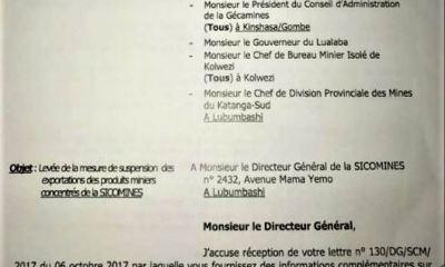 RDC : SICOMINES autorisée à exporter ses produits miniers «sous conditions» !