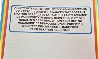 RDC: Enfin, le remplacement du passeport valide fixé à 100 USD!